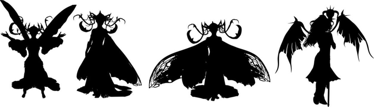 ファンタジー世界の悪魔のシルエット