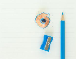 Fototapete - pencils , sharpener shave blue drawing on paper note background
