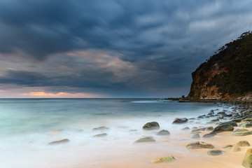 Moody Rocky Morning at the Seaside