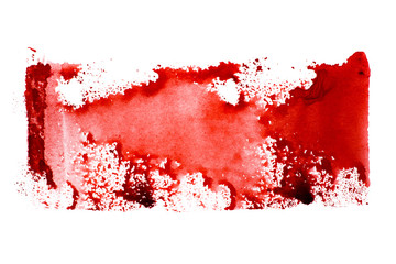 Abstract red watercolor background, isolated on white paper - for design