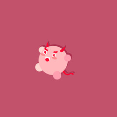 Illustration of a kawaii cute round-shaped red demon showing evilness and showing magnificence in the warm underworld of hell. His big shadow is projected on the wall.