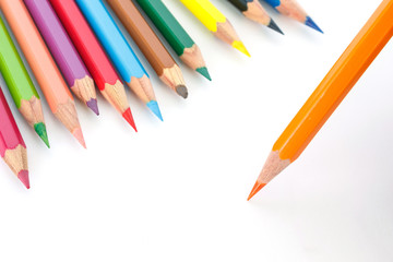 Fototapete - colored pencils drawing multicolored on white background