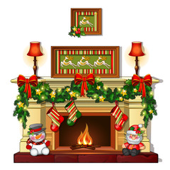 Christmas sketch with the fireplace with Christmas decorations. Sample of the poster, invitation and other cards. Vector illustration.