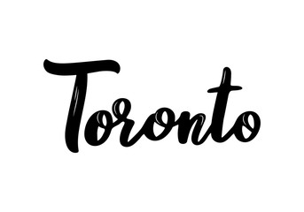 Toronto handwritten calligraphy name of US city. Hand drawn brush calligraphy. Vector Design Template.