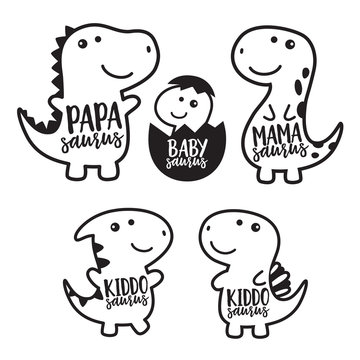 Cute dinosaur family cartoon character in black outlined vector illustration.