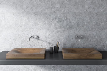 Wooden double sink in concrete bathroom Fototapete