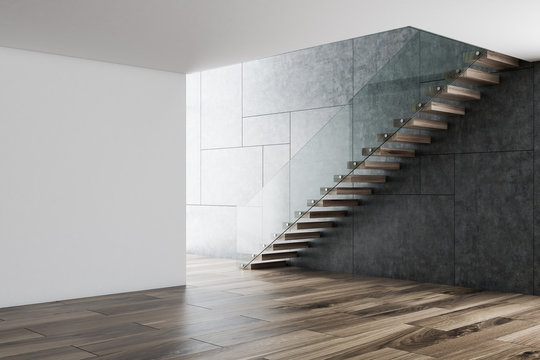 Empty white and gray room interior, stairs
