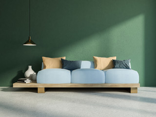 Japanese style sofa in green living room interior