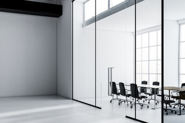 White meeting room interior, office lobby