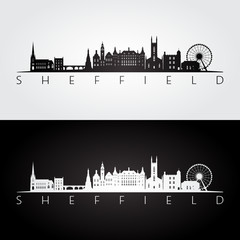 Sheffield skyline and landmarks silhouette, black and white design, vector illustration.