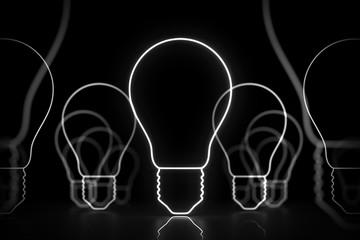 Neon white idea sign glowing on black, light bulbs