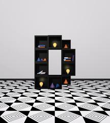 Wohnidee: Regal aus Würfeln als Buchstabe D. mit bunten Glühbirnen, Büchern und Dekoration. 3d render