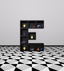 Wohnidee: Regal aus Würfeln als Buchstabe E. mit bunten Glühbirnen, Büchern und Dekoration. 3d render