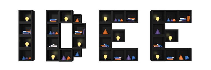Regal aus Würfeln als Wort Idee. Mit bunten Glühbirnen, Büchern und Dekoration auf weiß isoliert. 3d render