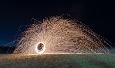 Steel wool fire twirling