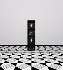 Wohnidee: Regal aus Würfeln als Buchstabe I. mit bunten Glühbirnen, Büchern und Dekoration. 3d render