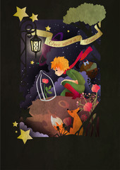 Little boy with rose an fox sitting in front of night sky