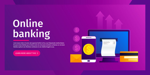 Online banking concept. Online payments on desktop comuter. Bill for payment coming out of the screen. Vector illustration. Flat design. EPS10.