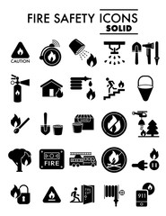 Fire safety glyph icon set, emergency symbols collection, vector sketches, logo illustrations, alarm signs solid pictograms package isolated on white eps 10.