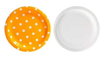Orange polka dot paper plate isolated on white background. Party dish made from cardboard in colorful concept. Front and Back view. ( Clipping path )