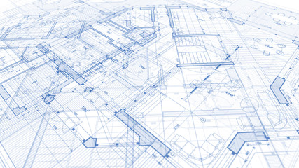 Architecture design: blueprint plan - illustration of a plan modern residential building / technology, industry, business concept illustration: real estate, building, construction, architecture Fotomurales