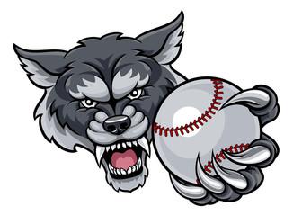 Wolf Holding Baseball Ball Mascot