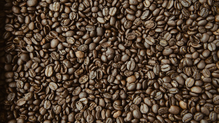 Roasted coffee beans for picture background.