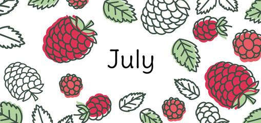July raspberry vector. Hand drawn design. Doodle sketch. Fruit calendar