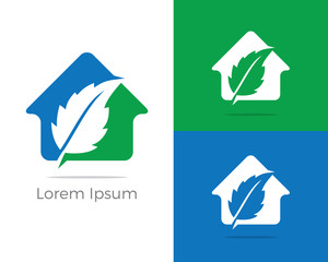 Health and care logo design, pharmacy icon, oak leaf in home vector illustration, leaf icon.