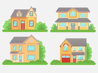 Cottage houses isolated on white background. Front view.  Vector Illustration in Flat Style