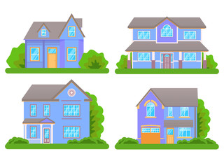 Ccottage houses isolated on white background. Front view.  Vector Illustration in Flat Style