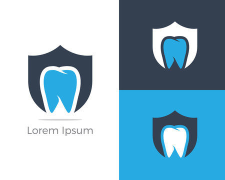 Dental care logo icon, tooth in shield vector illustration.