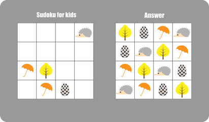 Sudoku game with autumn pictures (umbrella, leaf) for children, easy level, education game for kids, preschool worksheet activity, task for the development of logical thinking, vector illustration