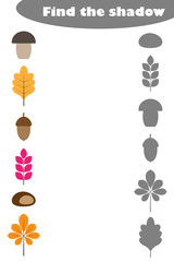 Find the shadow game with autumn pictures for children, education matching game for kids, preschool worksheet activity, task for the development of logical thinking, vector illustration