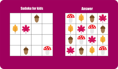 Sudoku game with autumn pictures (mushroom, leaf) for children, easy level, education game for kids, preschool worksheet activity, task for the development of logical thinking, vector illustration