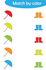 Matching game for children, connect umbrellas and boots by color, preschool worksheet activity for kids, task for the development of logical thinking, vector illustration