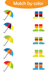 Matching game for children, connect colorful umbrellas with same color boots, preschool worksheet activity for kids, task for the development of logical thinking, vector illustration