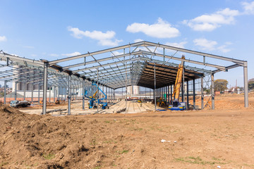 New Factory Steel Structure Construction Halfway