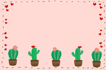 Cute smile cactus with flower in brown pot and red heart on pastel pink frame background with copy space for fill text. Minimal and abstract style for wallpaper in botanicals idea and plants concept.