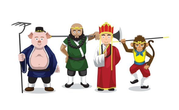 Journey to the west character set Vector Illustration