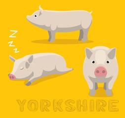 Pig Yorkshire Cartoon Vector Illustration