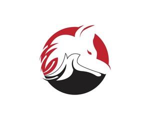 Wolf silhouette logo design vector illustration