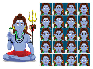 Hindu God Shiva Cartoon Emotion faces Vector Illustration