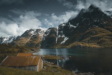 Lofoten Islands, Norway, fishing village and mountains