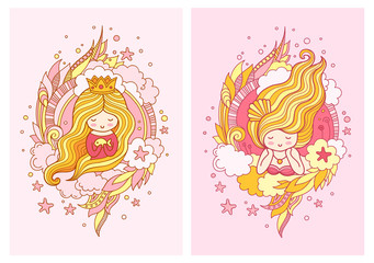 Cute little princess with light blond long hair. Set of vector illustrations.