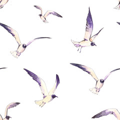 Seamless pattern with flying seagulls. Watercolor illustration