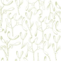 Vector  seamless pattern with hand drawn mistletoe.