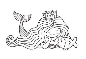 Mermaid lying on the seabed, with cute little fish. Princess. Cartoon personage for coloring book. Outline vector illustration.