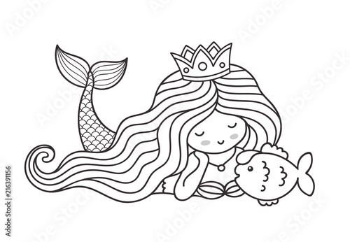 """""""Mermaid Lying On The Seabed, With Cute Little Fish"""