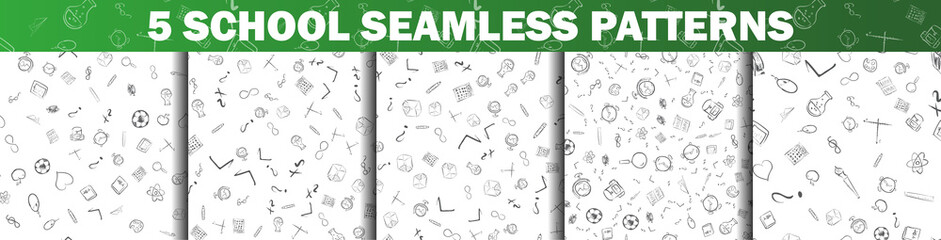 Set of School seamless pattern in black and white with mini doodle drawings icons. Vector illustration isolated on white background